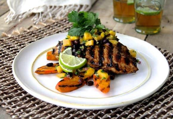 Jamaican Jerk Style Chicken with Black Bean and Mango Salsa