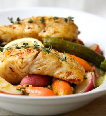 For the halibut! Butter-Basted Halibut with Lemon-Braised Baby Vegetables