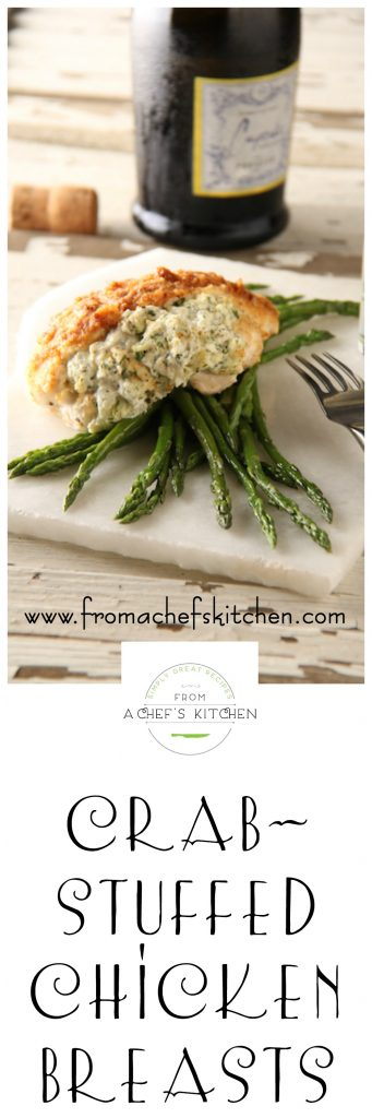 Crab Stuffed Chicken Breasts are easy enough for a weeknight yet elegant enough for a dinner party.
