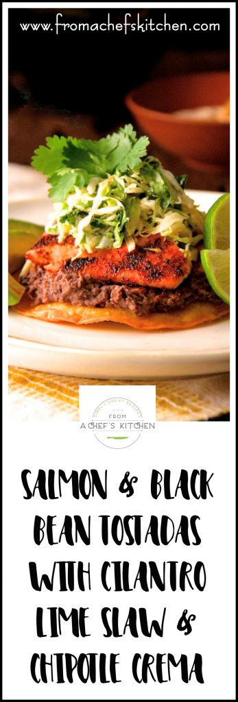 Full of lively flavor!  Salmon and Black Bean Tostadas with Cilantro Lime Slaw and Chipotle Crema makes salmon sing!