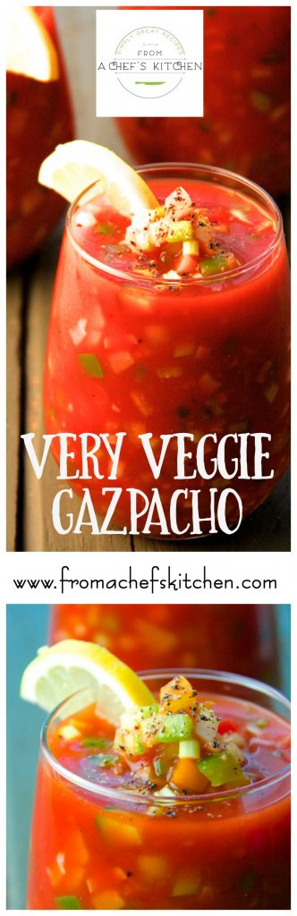 Very Veggie Gazpacho is full of fresh, crunchy vegetables in a tangy tomato base.  It doesn't get any more refreshing than this!