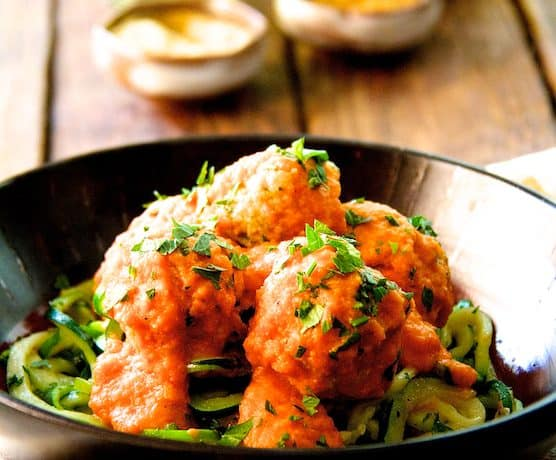 Chicken Meatballs with Roasted Red Pepper - Chickpea Sauce and Zucchini Noodles