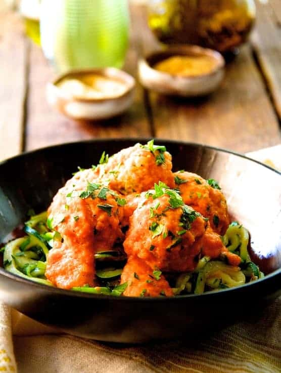 Chicken Meatballs with Roasted Red Pepper Chickpea Sauce