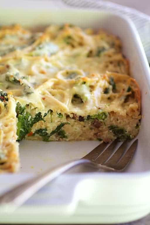 Baked Spaghetti Frittata with Broccoli Rabe Bacon and Three Cheeses