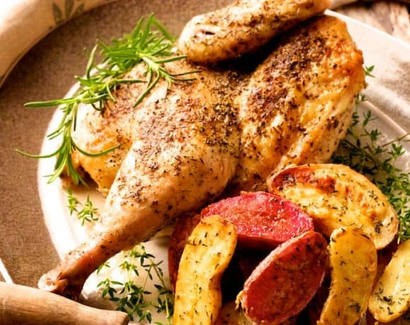 Herb and Garlic-Roasted Chicken and Dijon - Rosemary Roasted Fingerling Potatoes