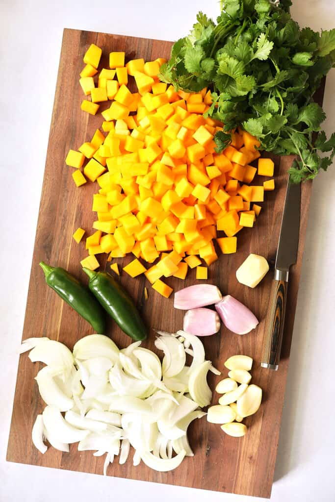 Overhead shot of the ingredients for the butternut squash curry recipe