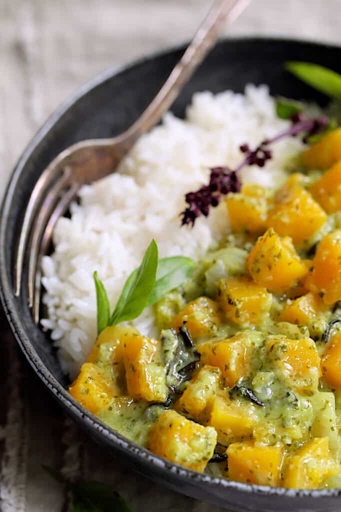 Butternut Squash in Fresh Green Curry - Close-up shot of the dish in black bowl with fork