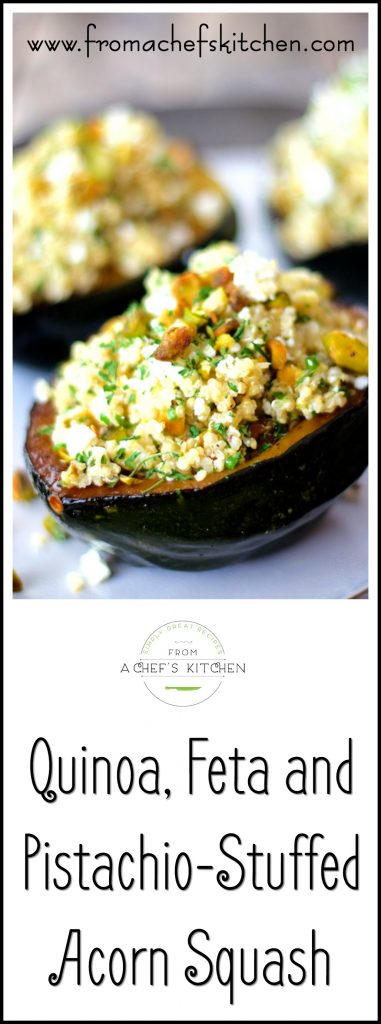 Quinoa, Feta and Pistachio-Stuffed Acorn Squash is a show-stopping autumn side dish or vegetarian entree.