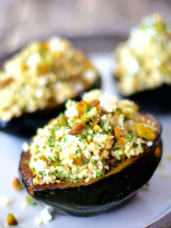 Quinoa Feta and Pistachio Stuffed Acorn Squash