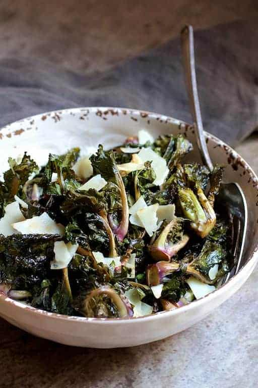 Balsamic Roasted Kale Sprouts with Shaved Parmesan