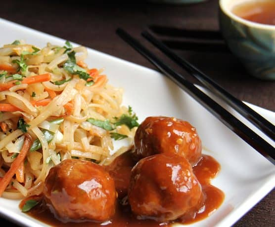 Hoisin Glazed Pork Meatballs and Rice Noodles with Cabbage and Carrots