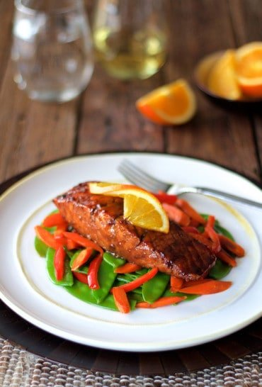 Pomegranate and Orange Glazed Salmon with Stir Fried Vegetables