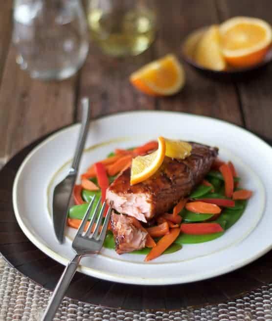 Pomegranate and Orange-Glazed Salmon with Stir-Fried Vegetables