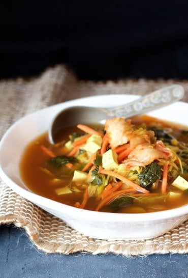 Asian Vegetable Soup with Tofu, Kimchi and Rice Noodles