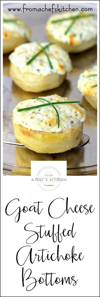 Goat Cheese Stuffed Artichoke Bottoms are easy and impressive!