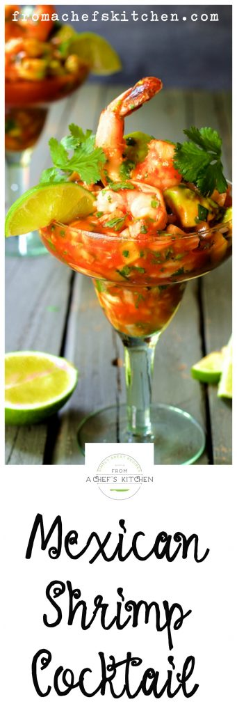 Pinterest pin for Mexican Shrimp Cocktail.