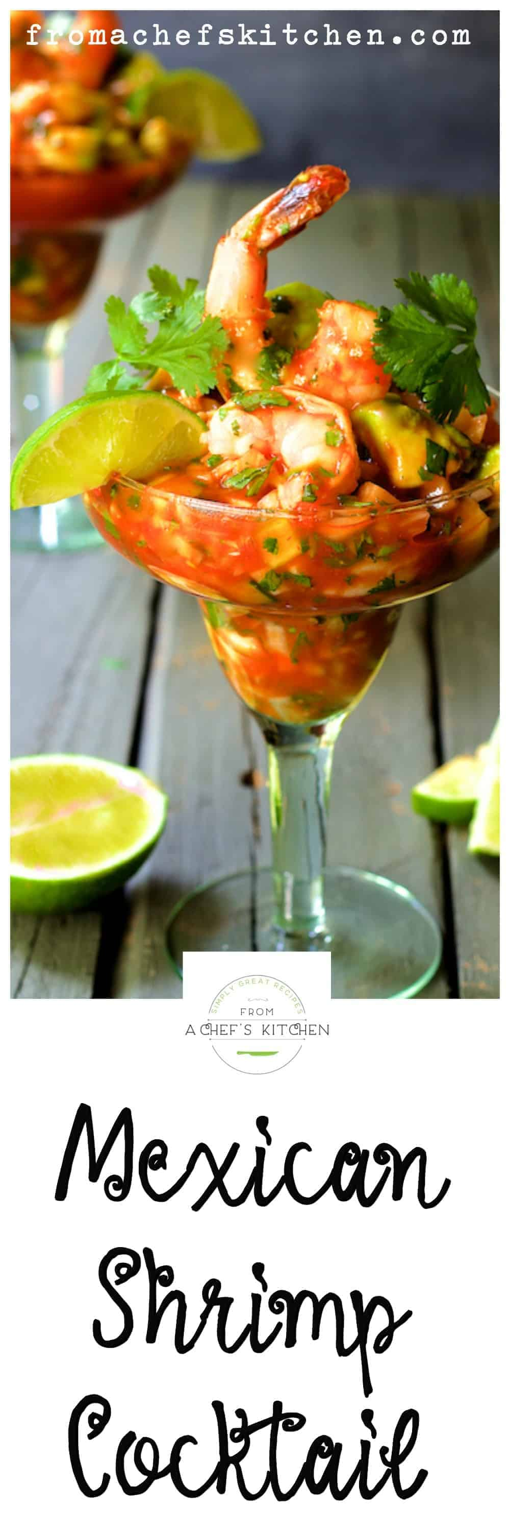 Cóctel de Camarónes, simply known as Mexican Shrimp Cocktail, doesn't resemble an American shrimp cocktail at all.  I'll bet you'll find this variation way more tasty and exciting!