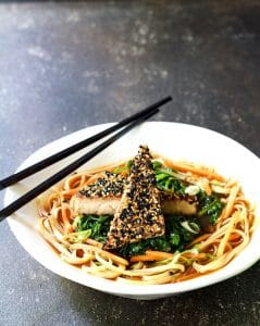 Sesame Encrusted Tofu, Spinach and Rice Noodle Bowls