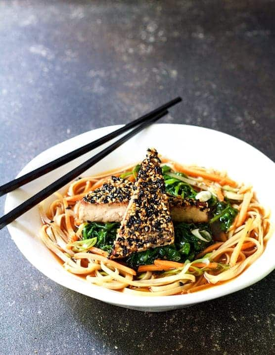 Sesame Tofu with Spinach and Rice Noodles in Ginger Broth