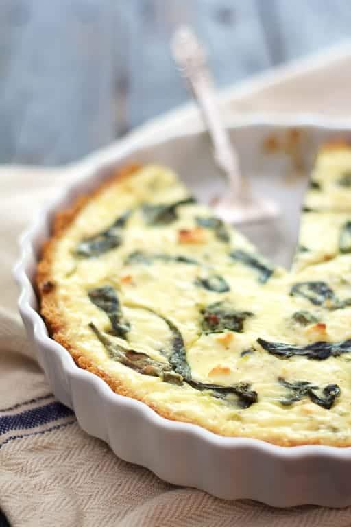 Photo of Spinach and Feta Quiche with Quinoa Crust.