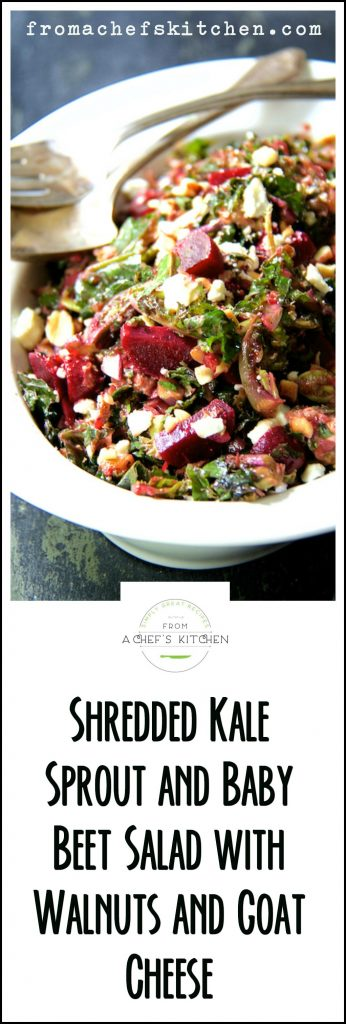 Shredded Kale Sprout and Baby Beet Salad with Walnuts and Goat Cheese