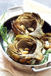 Oven Roasted Artichokes with Roasted Garlic Butter