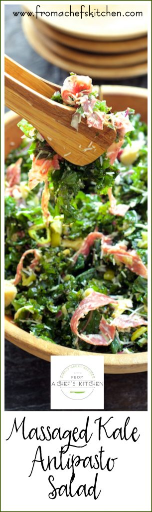 Massaged Kale Antipasto Salad is low-labor and high-flavor!