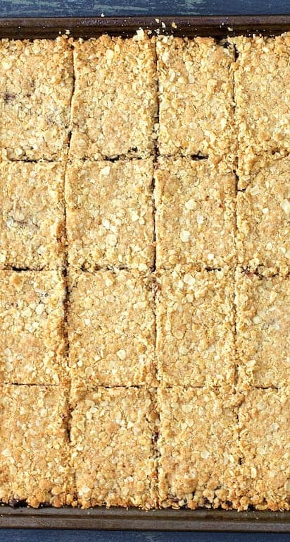 Healthier Date Bars - Overhead shot of date bars cut into pieces