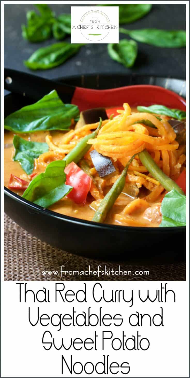 Thai Red Curry with Vegetables and Sweet Potato Noodles is spicy, healthful comfort food any time you need a shot of goodness! #vegetarian #vegan #redcurry #thai #thaifood #vegetables #sweetpotato