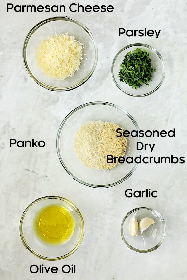 Photo of ingredients for crispy topping in glass bowls.