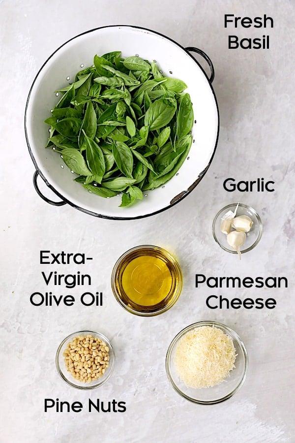 Photo of ingredients for basil pesto.