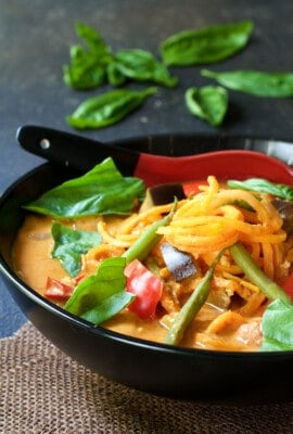 Vegetables in Thai Red Curry with Sweet Potato Noodles