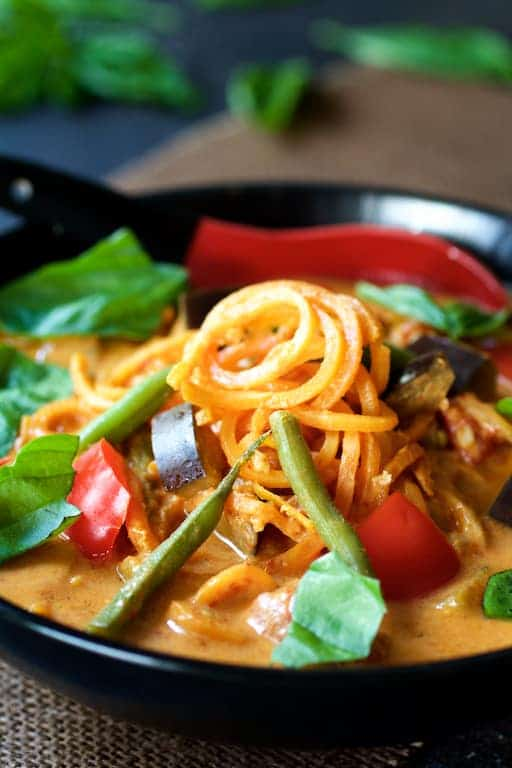 Vegetables in Thai Red Curry with Sweet Potato Noodles - Close-up shot to show sweet potato noodles