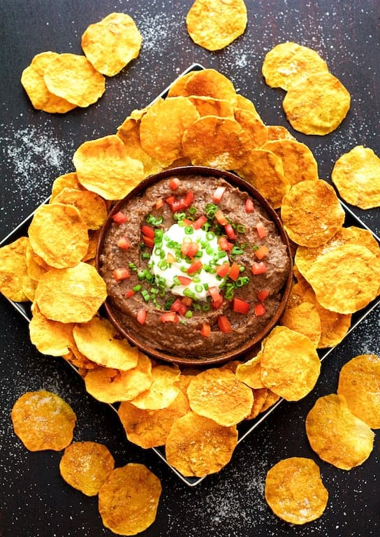 Smokin' Chipotle Black Bean Dip with Butternut Squash Chips