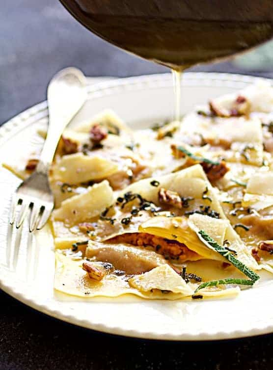 pumpkin ravioli with sage browned butter parmesan and pecans