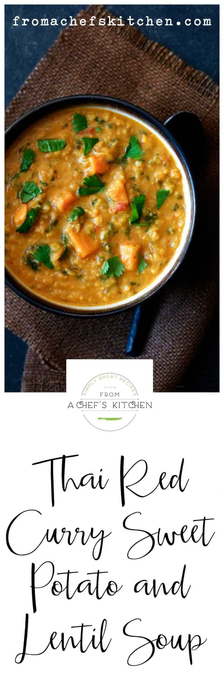 Thai Red Curry Sweet Potato and Lentil Soup delivers delicious Thai-inspired comfort and warmth in a hurry in a light yet satisfying soup! #vegansoup #thairedcurry #thaicurry #sweetpotato #lentil #lentilsoup