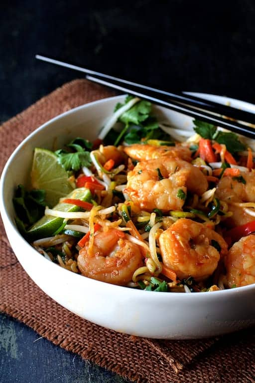 Shrimp Pad Thai with Zucchini Noodles is a fresh, flavorful and spicy way to add more veggies to your life!