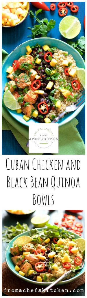 Cuban Chicken and Black Bean Quinoa Bowls are fresh, flavorful and healthful! The perfect way to kick those winter blahs to the curb!