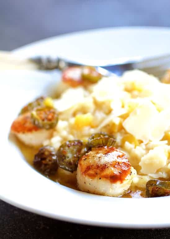Seared Scallops with Jalapeño Browned Butter and Mango Buttermilk Risotto