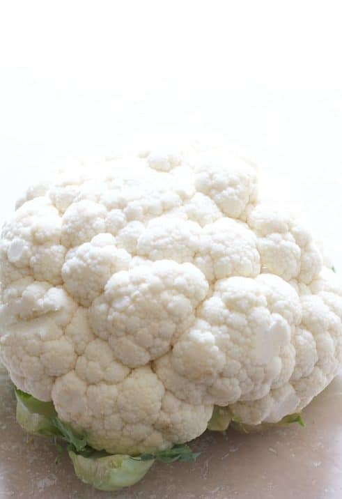 Head of white cauliflower