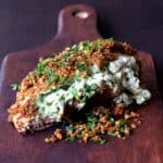 Green Chile Goat Cheese Stuffed Chicken Breasts with Spicy Cornmeal Pecan Crust is crunchy, cheesy and easy!