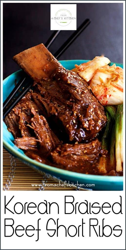 Pinterest image for Korean Braised Beef Short Ribs