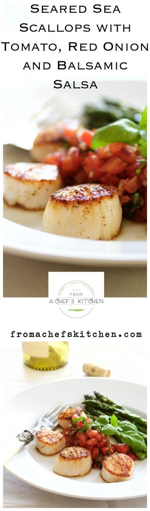 Seared Sea Scallops with Tomato, Red Onion and Balsamic Salsa for a light and elegant dinner for two.