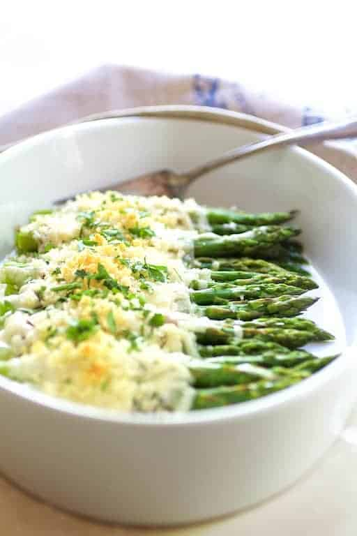 Asparagus Cordon Bleu - Hero shot of dish in white oval gratin dish