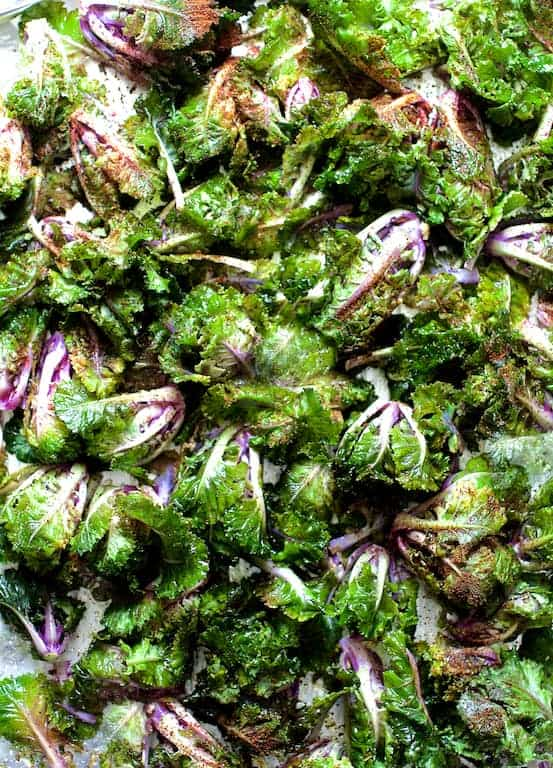 Chili Roasted Kale Sprouts and Lime Salt