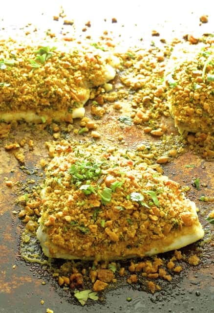 Photo of Curried Chickpea Encrusted Fish on baking sheet after being baked.