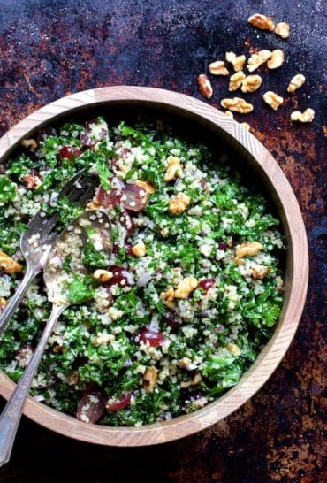 Quinoa and Kale Salad with Red Grapes, Walnuts and Honey - Lemon Dressing