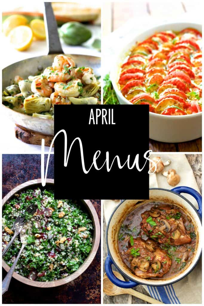 April Personal Chef Menus