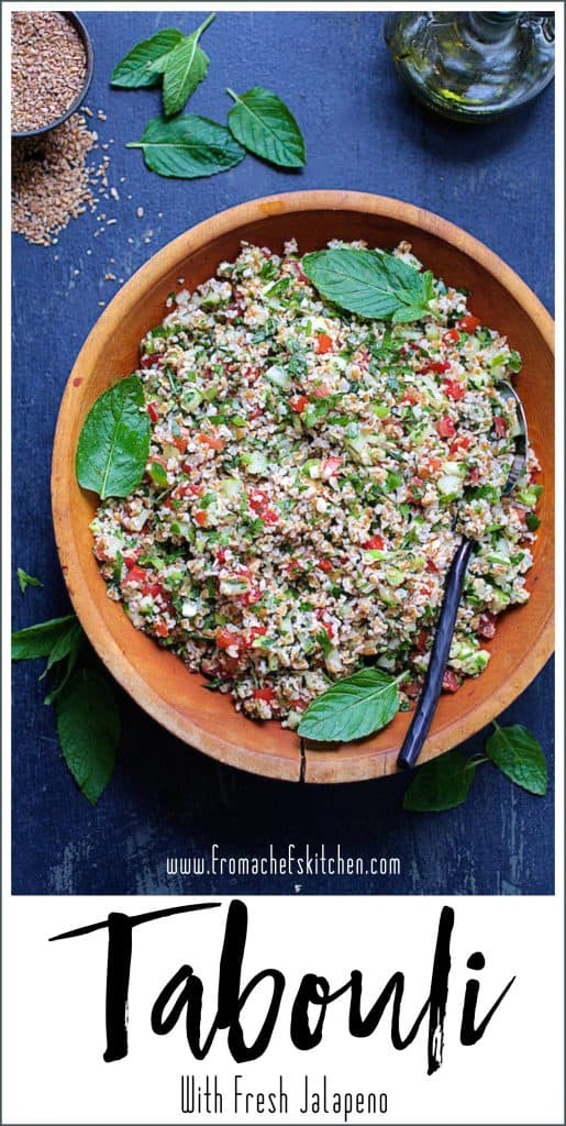 Pinterest image for Tabouli with Fresh Jalapeno
