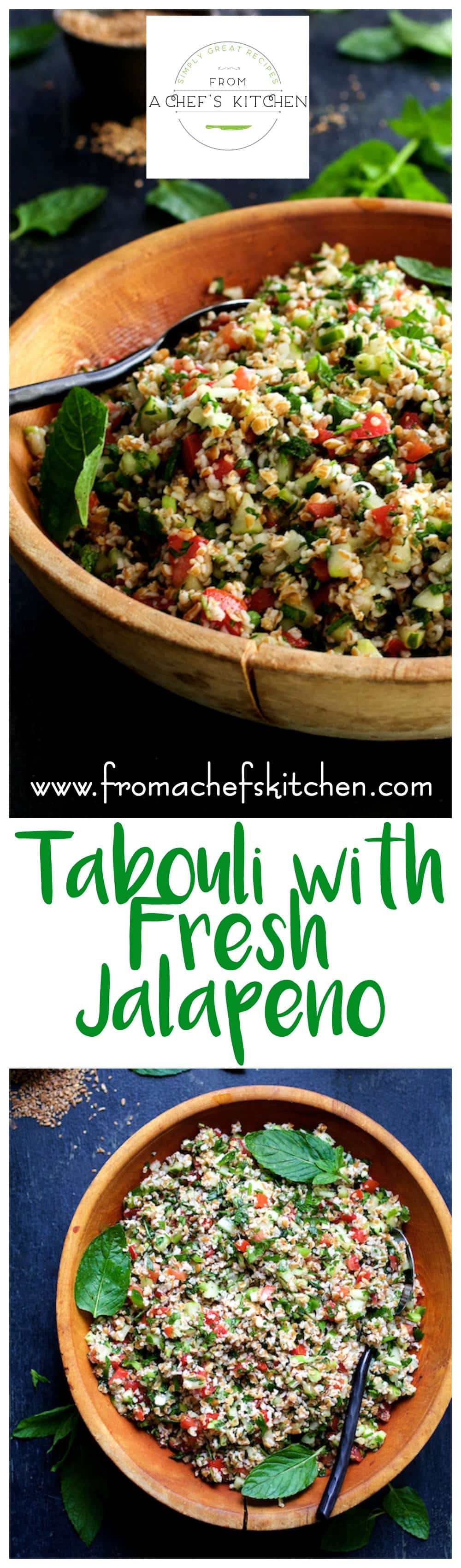 With loads of fresh herbs, crunchy veggies, jalapeno and a lively lemon dressing, this tabouli (tabbouleh) is perfect all summer long.